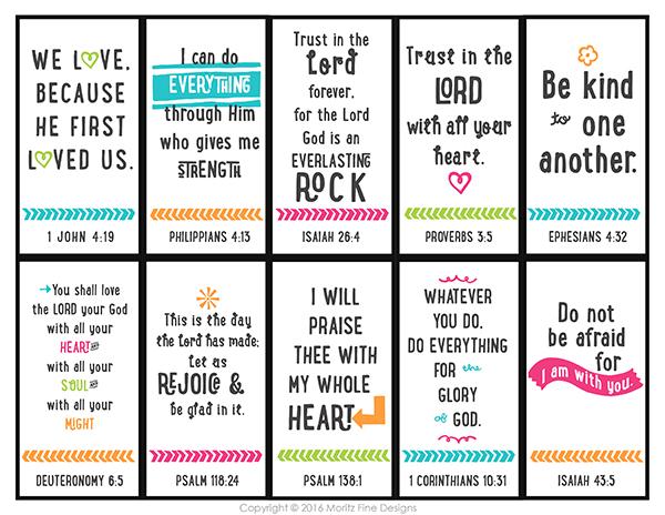 10 Bible Verse Memorization Cards for Kids | Free Printable