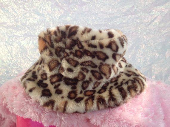76b228d86400a8 90's Fuzzy Leopard Babysitters Club Plush Faux Fur Bucket Hat by  FeelingVagueVintage