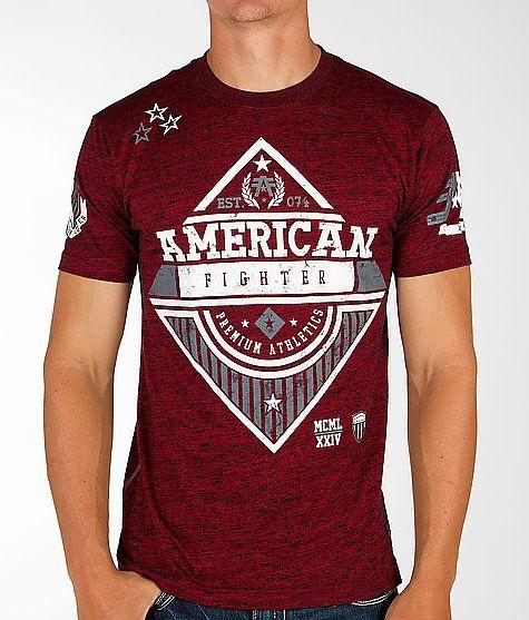 American Fighter/ Men T-Shirt Crest of Truth Athletic Black Biker Gym MMA UFC