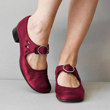 Details about  /Hot Women/'s Mary Janes Casual Shoes Square Toe Casual Buckle Strap Chunky Heel B