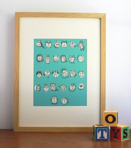 Owlphabet Alphabet Print in Turquoise by Gingiber modern nursery decor $20