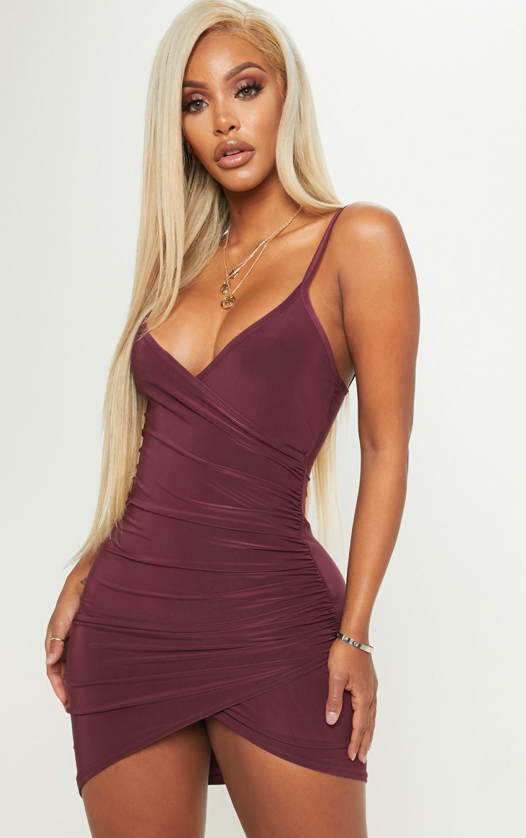 Shape Burgundy Ruched Side Strappy Bodycon Dress Bodycon Dress Ruched Bodycon Dress Girls Night Out Dresses [ 1180 x 740 Pixel ]