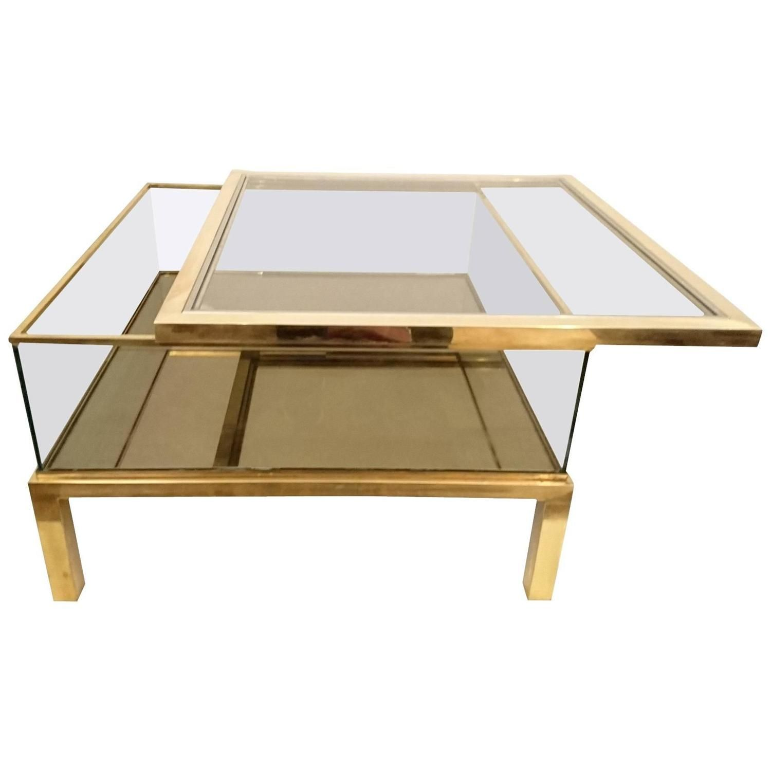 Sliding Top Coffee Table Glass And Brass Glass Coffee Table Coffee Table Brass Coffee Table [ 1500 x 1500 Pixel ]