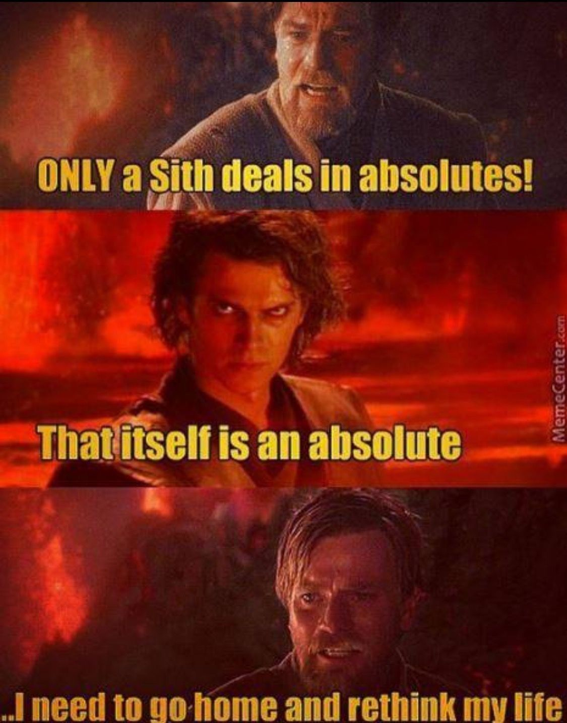 Only a sith deals in absolutes | Star wars humor, Star wars jokes ...