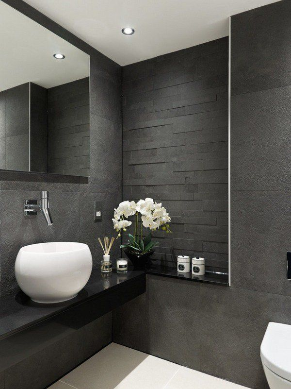 Modern bathroom designs gray tiles black vanity white sink for Bathroom designs gray