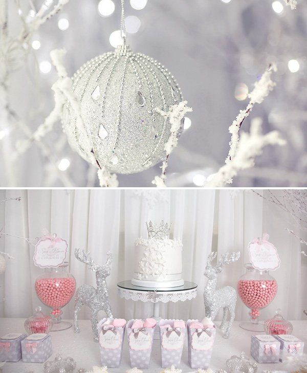 beautiful white and pink dessert table ideas for a winter baby shower theme