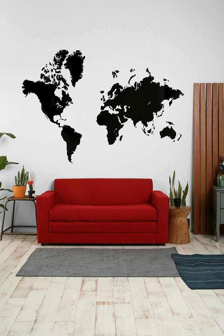 I would love to do this and put colored pins on places ive been world map wall decal urban outfitters gumiabroncs Image collections