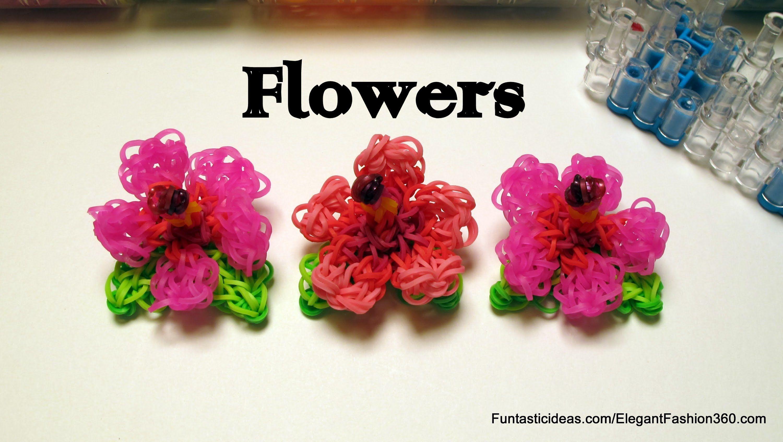 Rainbow Loom 3D Flower Charms emoji/emoticon - How to tutorial by Elegant Fashion 360