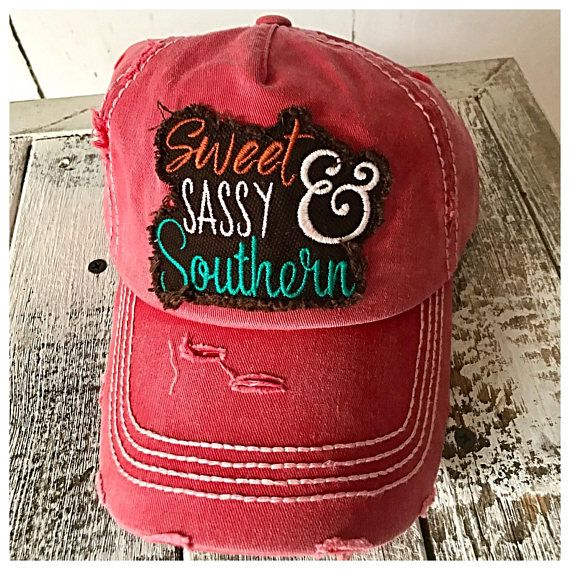 Sassy Hat Cap Baseball Sweet Southern Red Pink Black Ladies Embroidered Cute