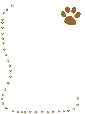 Free Printable Page Borders School paw prints paper border