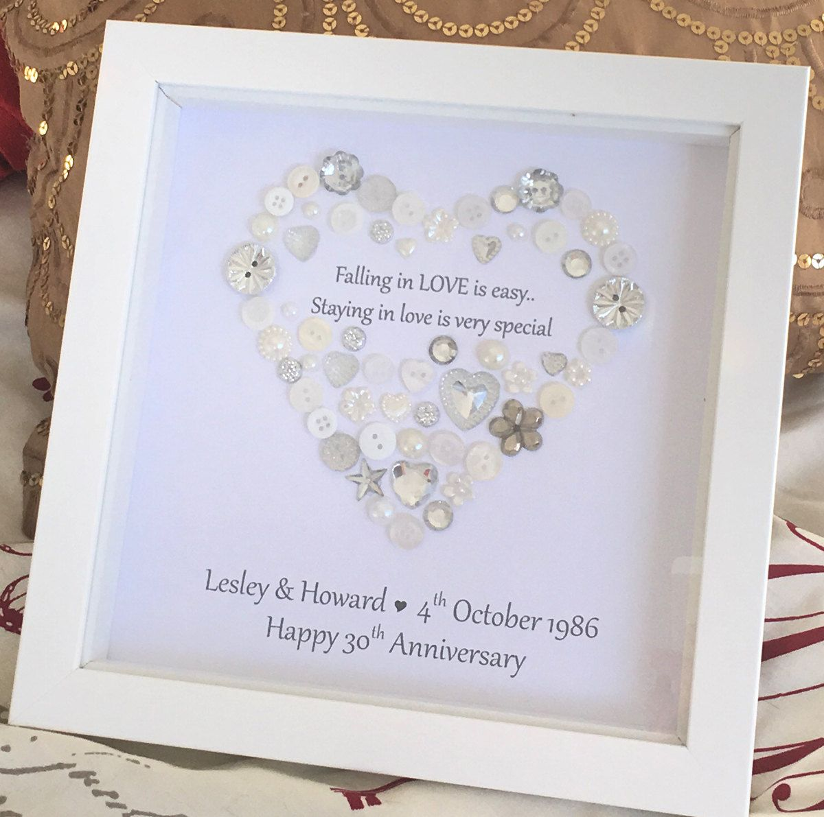 Personalised Heart Wedding Anniversary / New Engagement Button ...