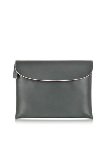 Marni Dark Green Leather Pochette w/Wool Lining