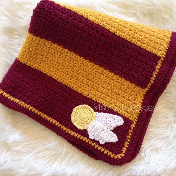 Crochet Harry Potter baby blanket Gryffindor by ...