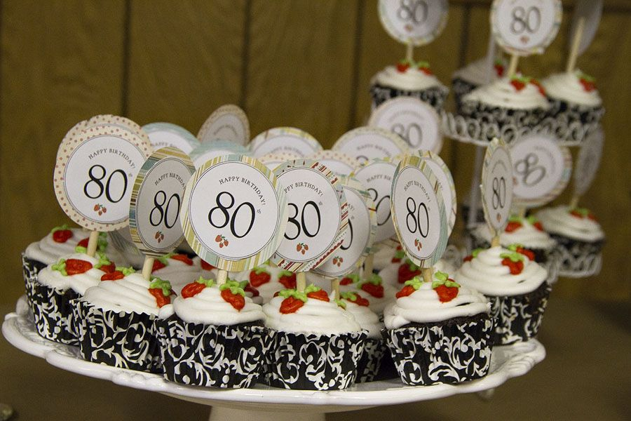 80th Birthday cupcakes and cupcake picks food Pinterest 80