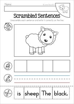Baa Baa Black Sheep Nursery Rhyme Worksheets And Activities