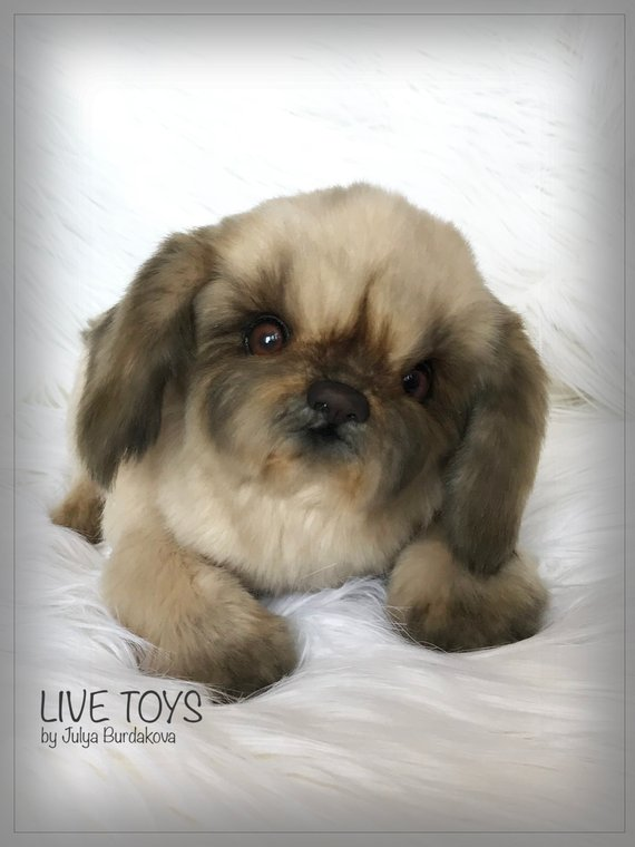 Realistic Stuffed Toy Cute Dog Plush Puppy Fur Babies Pet