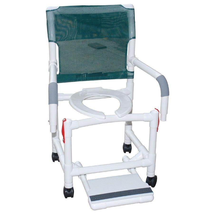 Rolling Shower Chair Dual Drop Arms Plus Footrest | Shower chair ...
