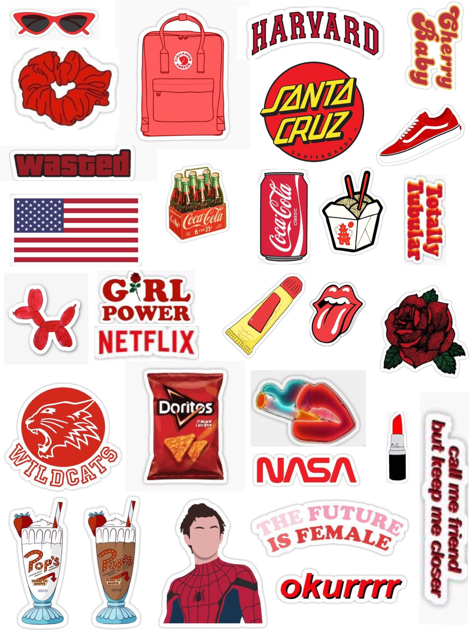 Red Sticker Pack Iphone Case Stickers