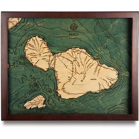 Carved 3D wood map relief chart of Maui, free shipping. Framed and ready to hang, this 3D Bathymetric Chart carved in Baltic Birch wood. Intricate detail is carved and laser etched creating a unique & accurate work of art.