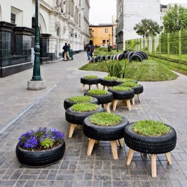 Recycled tyre planters home deco ideas pinterest for How to make a tire garden