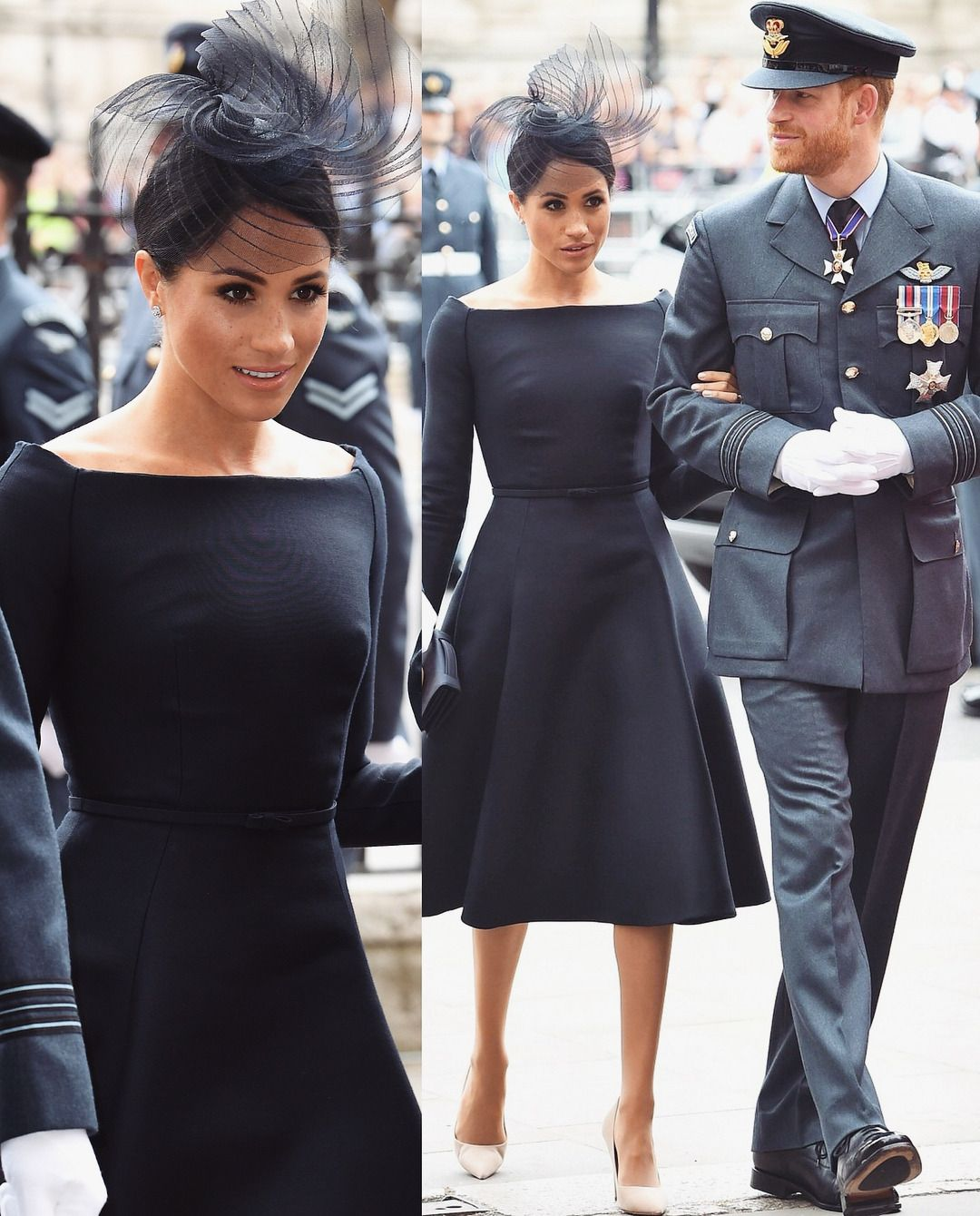 Meghan Markle In Black Knee Length Dress With Hat American Princess Givenchy Dress Gorgeous Black Dress