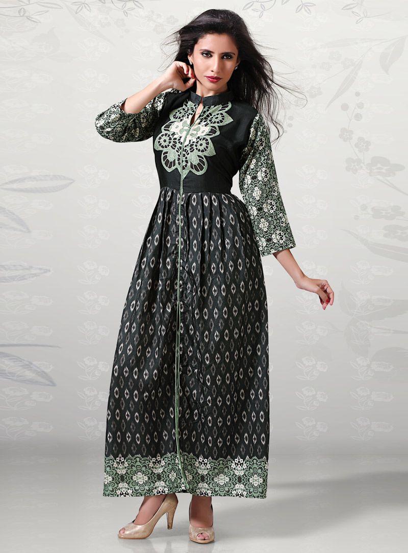 Black cotton readymade long kurti readymade kurti