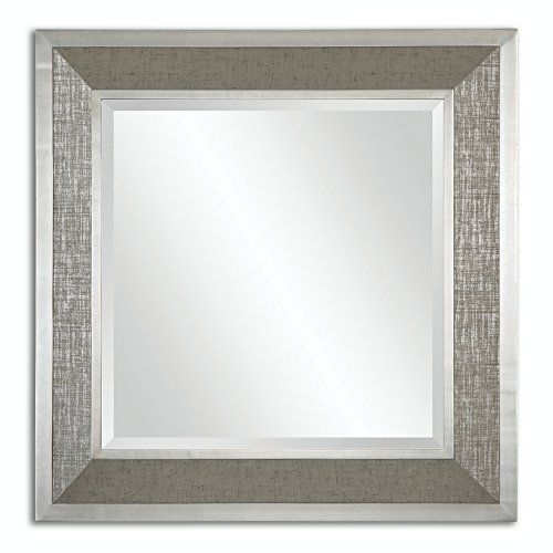 415 Roman Beveled Square Wall Mirror with Metallic Silver Wrapped ...