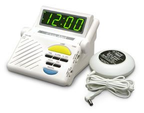 "PRODUCTS for DEAF: ""Sonic Alert"" brand Amplified Alarm with Bed Vibrator. This will shake your entire bed with one disc -included- slipped under the mattress. Also hearing people will wake like never before too: loud alarm sound, bed shaking, and loud sound of the vibration (I have experienced this one. It's intense)."