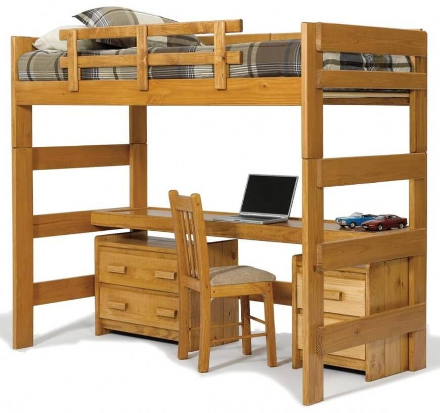 This Rich Natural Wood Bed Features A Single Bunk Above A Lengthy Desk With Additional Storage Courtesy Of Built In D Bunk Bed Designs Loft Bed Cool Bunk Beds