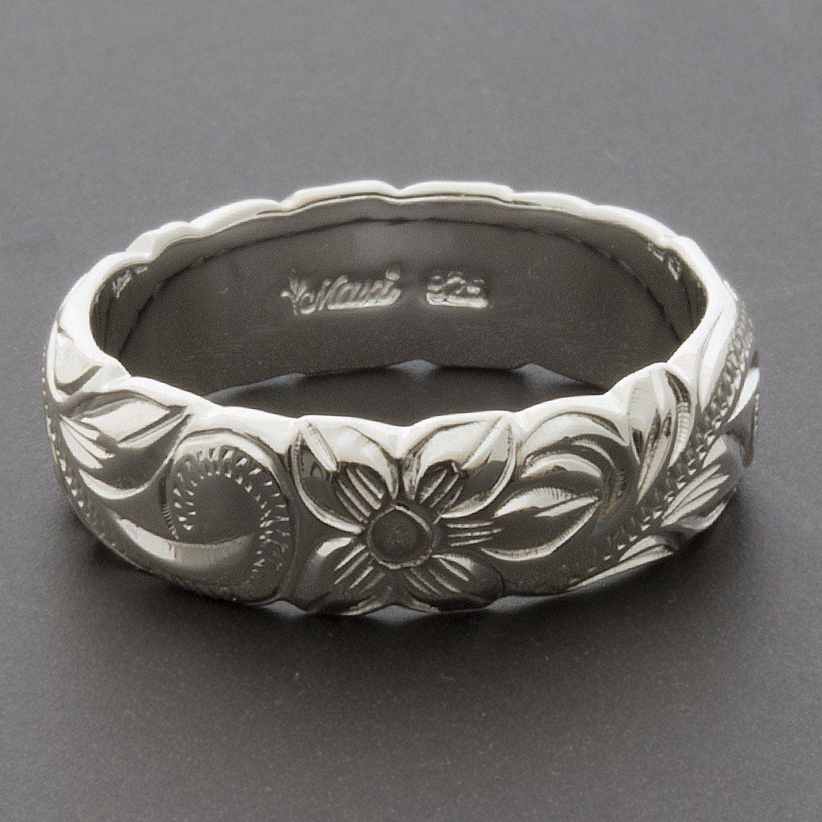 Silver mm cutout barrel ringhand engraved traditional hawaiian
