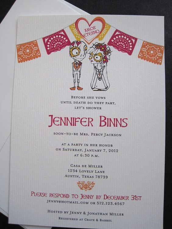 Mexican Party Invitations | Day Of The Dead Bridal Shower Invitation: