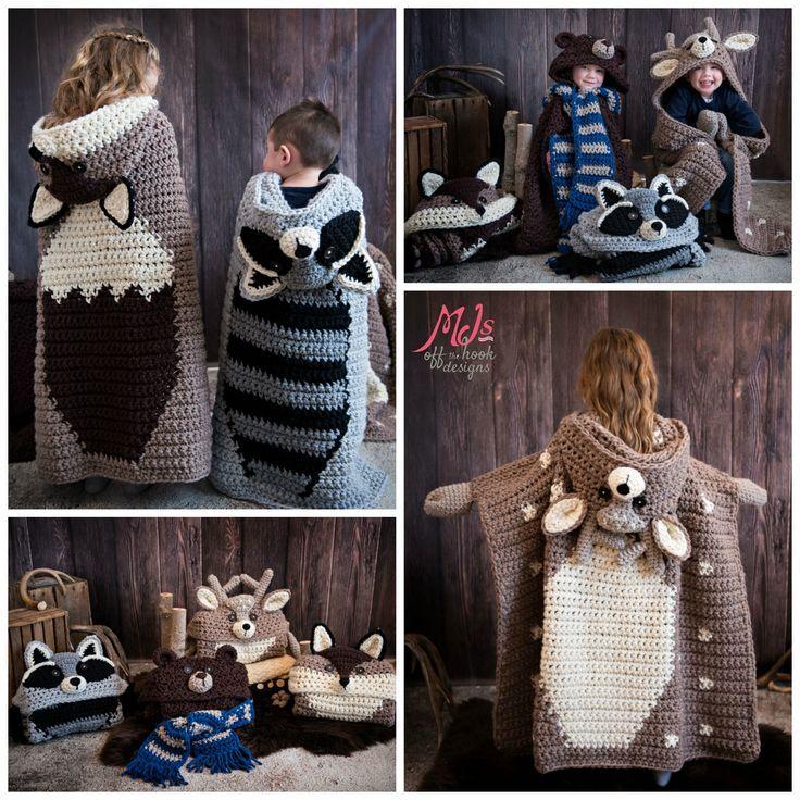 Photo of Hooded Woodland Blanket Kollektion – MJ's off the Hook Designs