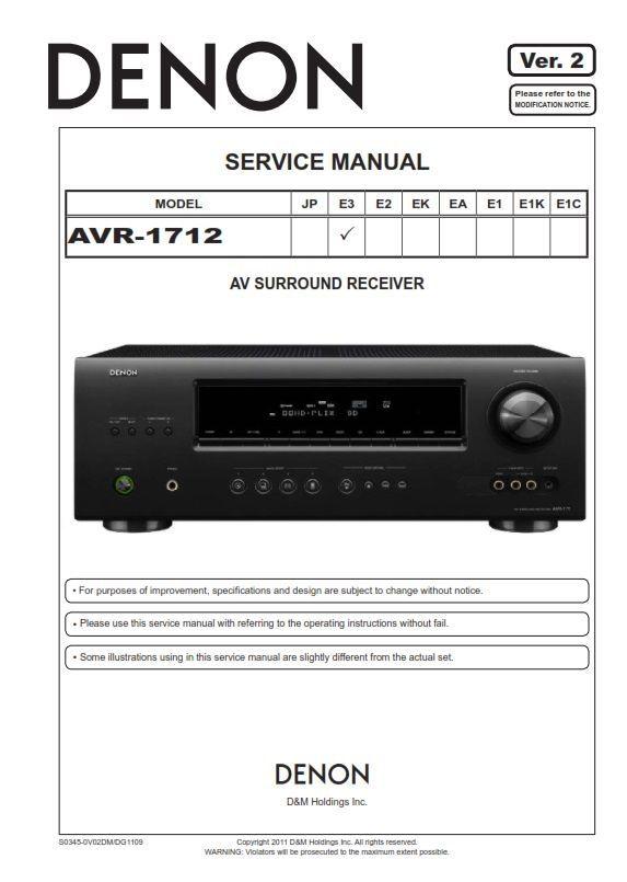 Denon Avr 1712 Receiver Service Manual And Repair Guide