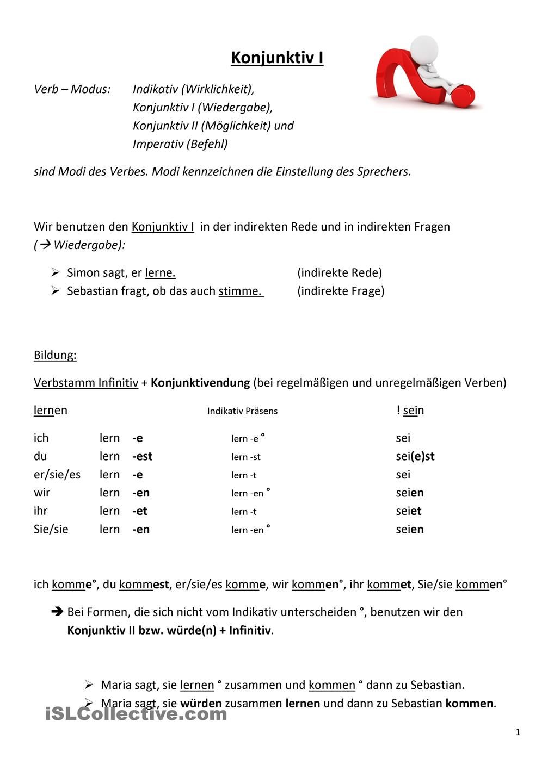 Konjunktiv 1 2 Konektoren Und Zu Weiter German Grammar