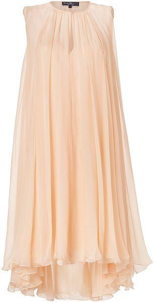 Ferragamo Beige Apricot Silk Dress