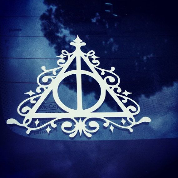 Deathly Hallows Harry Potter Car or Truck Window Decal Sticker White 6X6.0