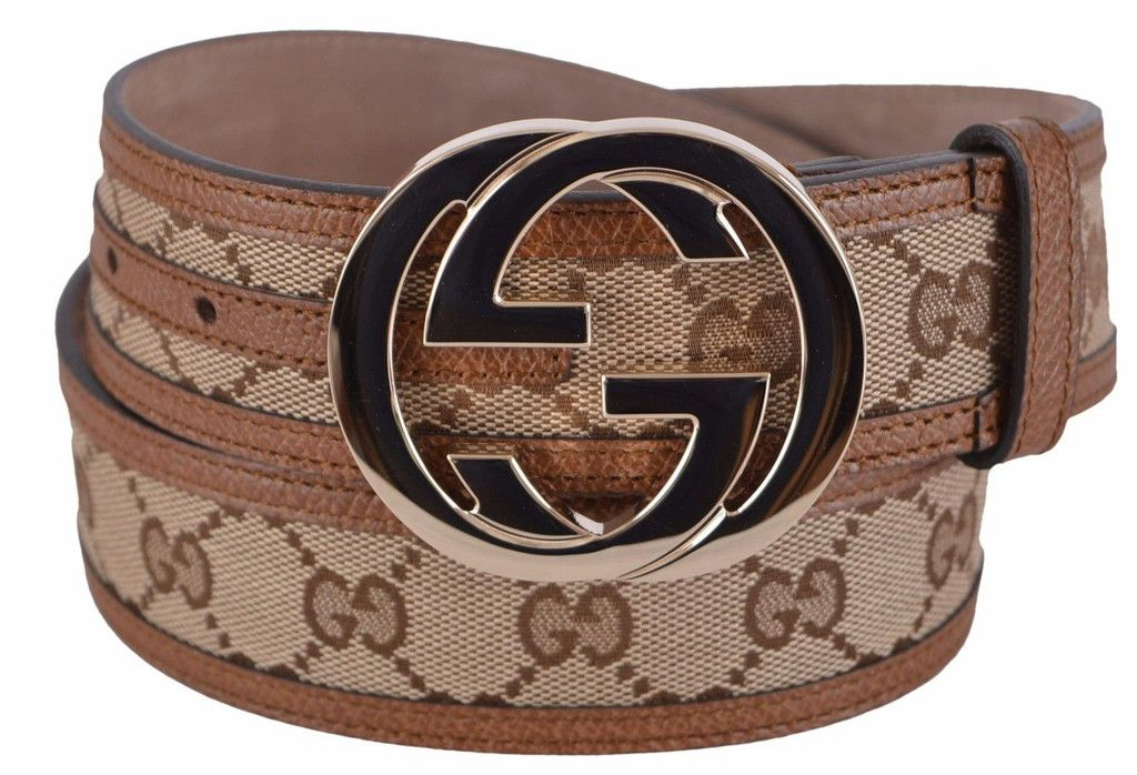 b216c85e778422 New Gucci Women s 114876 Beige Brown Canvas Leather GG Guccissima Belt 28 70