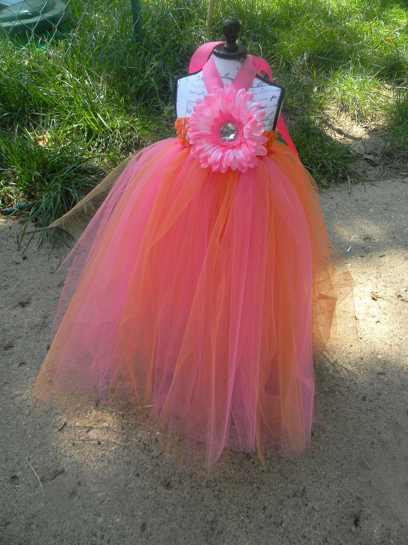 Summer Time Boutique Hot Pink And Orange Flower Girl Tutu Tulle