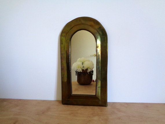 Moroccan Solid Brass Mirror Frame Wall, Vintage Brass Mirror Wall Hanging
