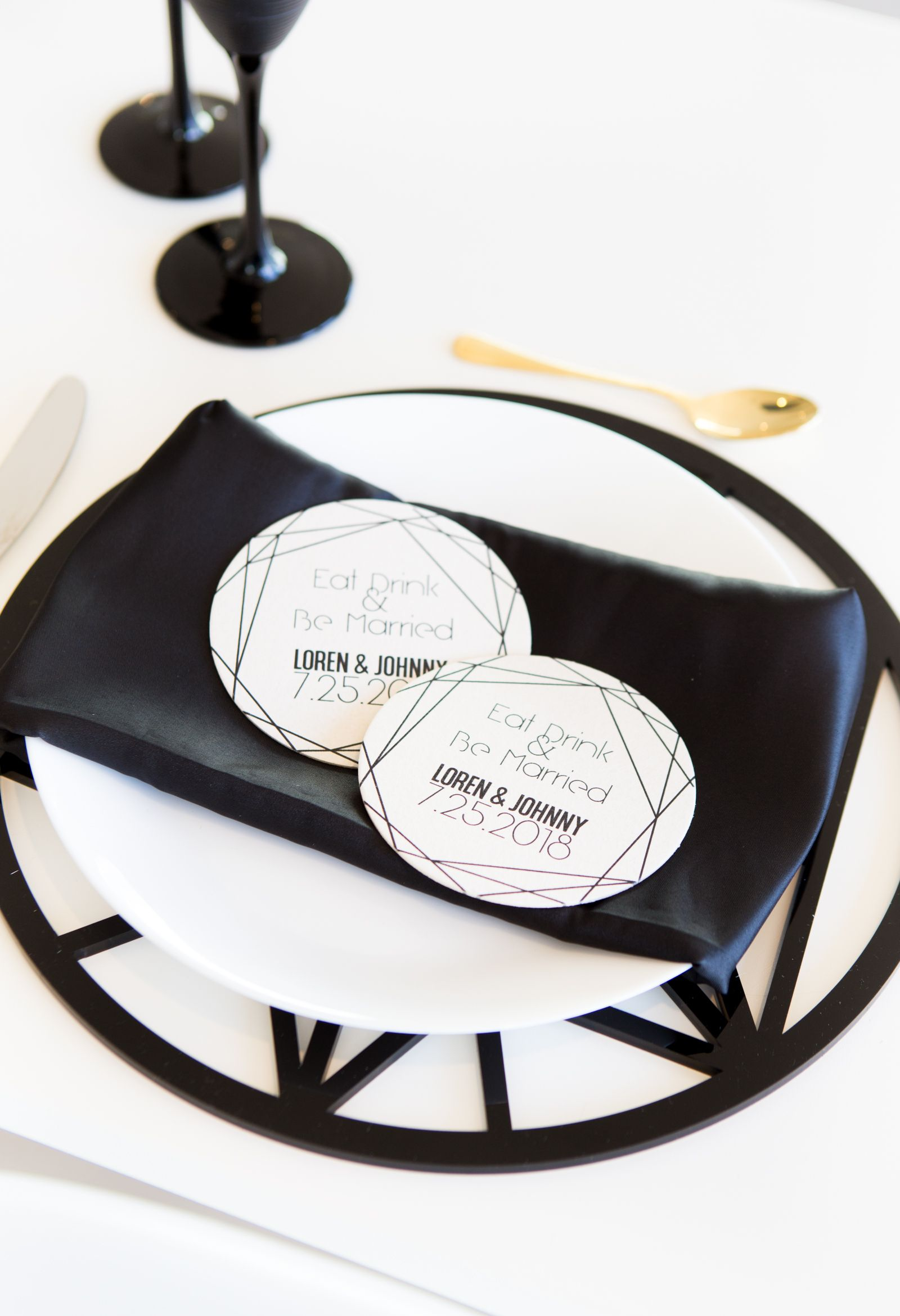 Modern Geometric Wedding Coasters, Thank You Favors Personalized ...