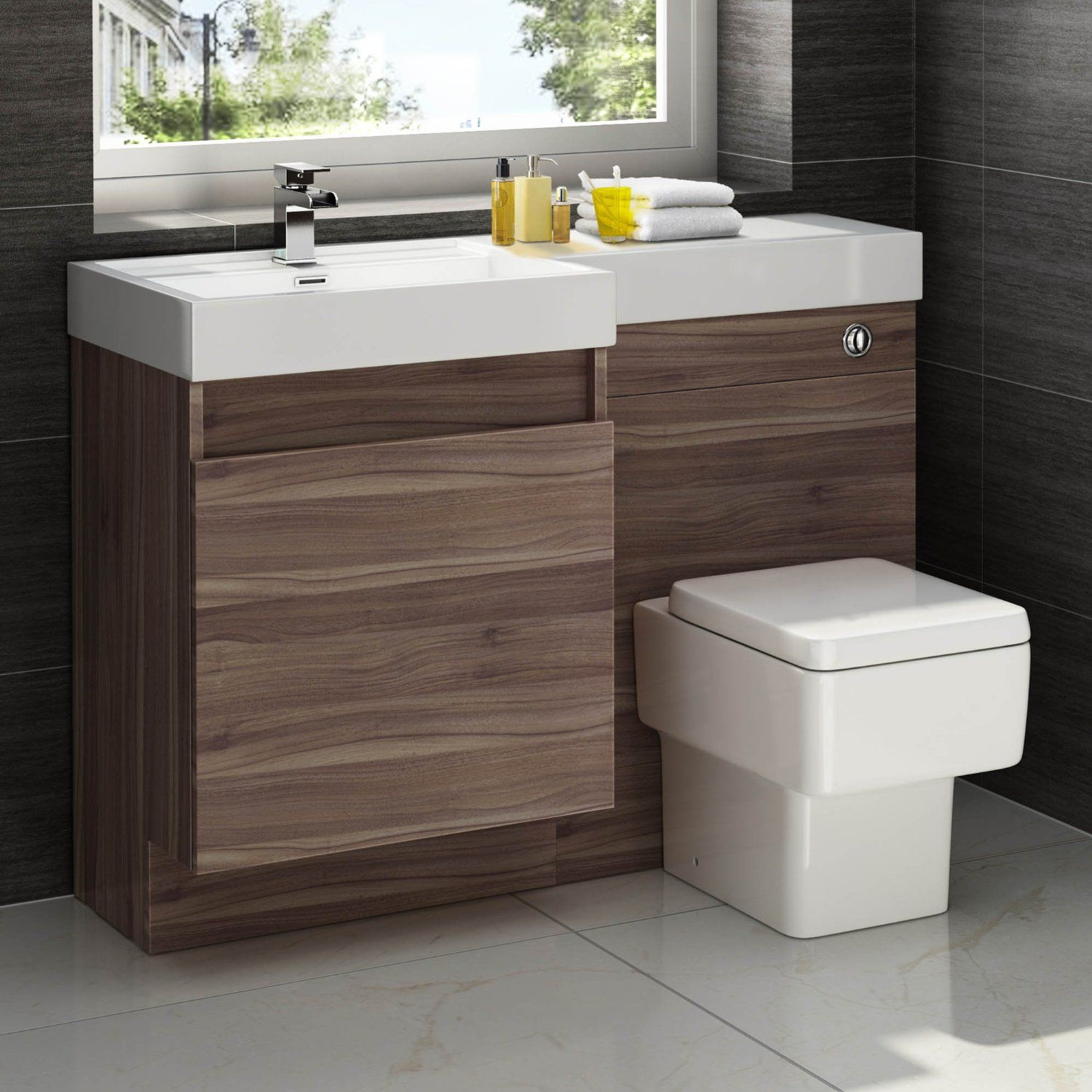 1200mm Walnut Vanity Unit Square Toilet Bathroom Sink Left Hand