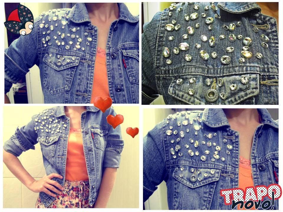 Jaqueta jeans + pedrarias