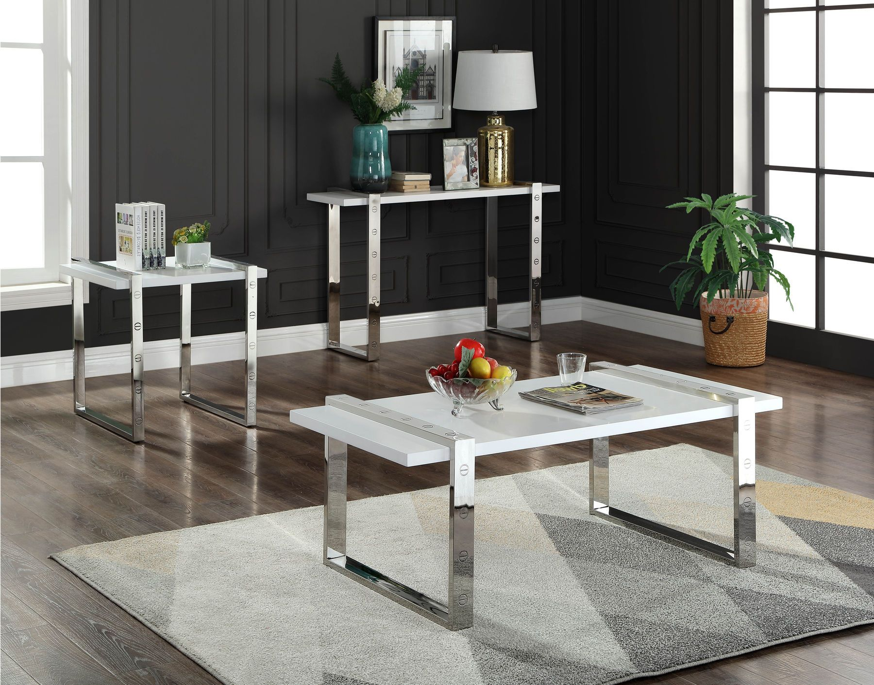 Amore Silver Coffee Table 3 Piece Coffee Table Set Contemporary