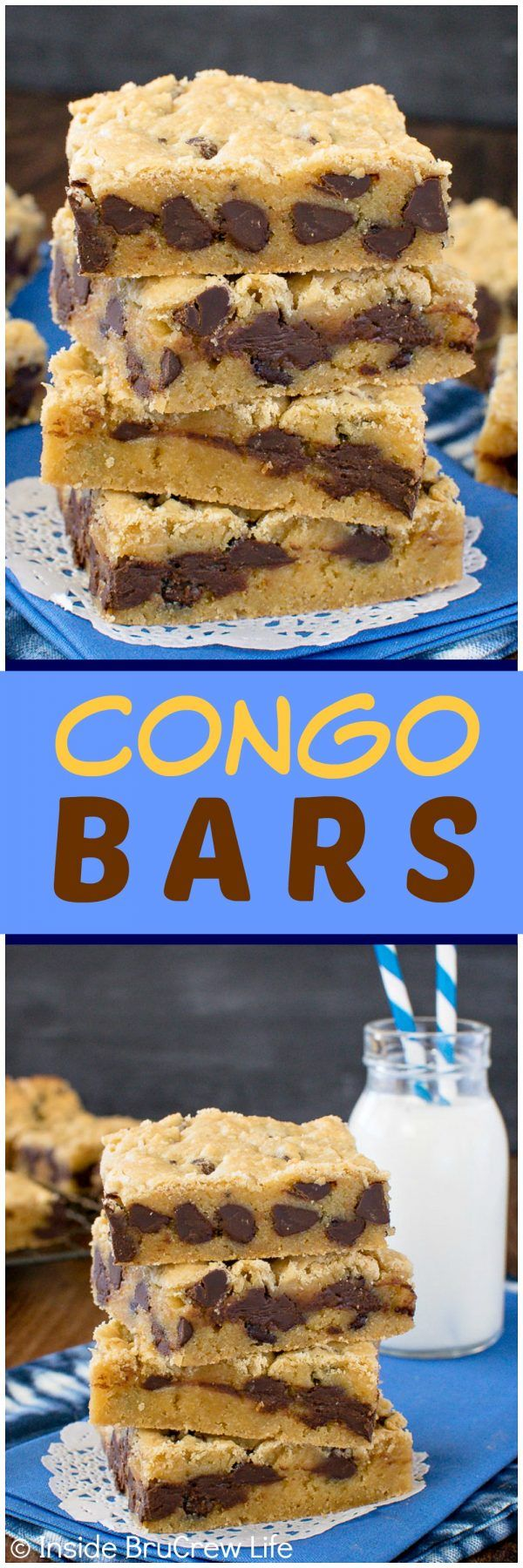 Congo Bars - soft and chewy blonde brownies loaded with chocolate chips makes these the best dessert recipe for any party!