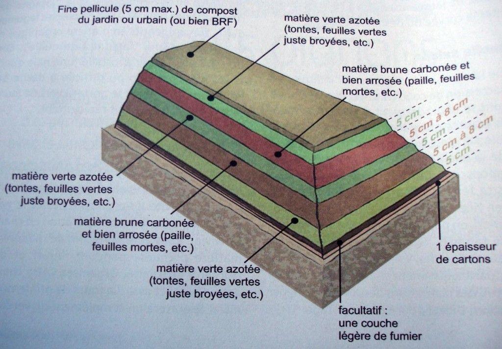 sch ma culture lasagne carton arrosage compost ou fumier 2 3 cm d chets verts 5 cm d chets. Black Bedroom Furniture Sets. Home Design Ideas