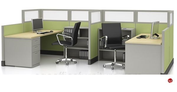 Picture Of 2 Person L Shape Office Cubicle Workstation Office