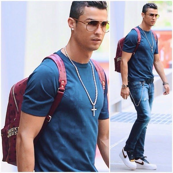 f08a3b422ae Cristiano Ronaldo s MCM Stark leather studded backpack and Nike + R.T.  sneakers - New York Street Style