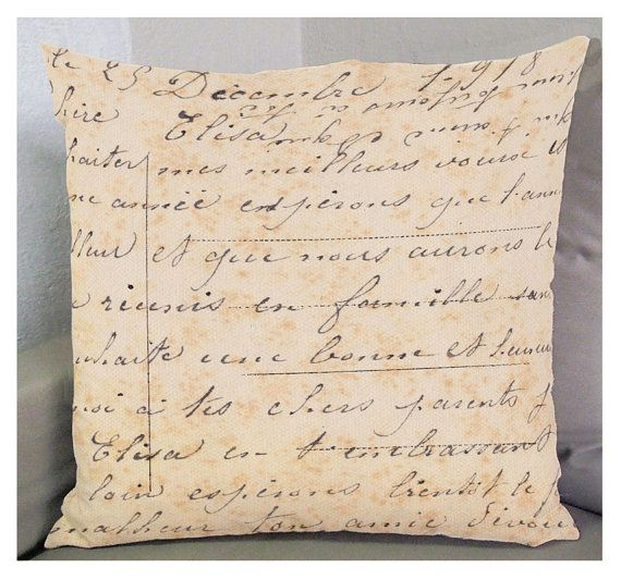 """FRENCH WRITING 01 PILLOW cover  Exclusive Fabric 18in by ZyndiePOP, $58.50. Another one of my orignal pillows on etsy.com. Pleave look, and """"favorite"""" if you feel so inclined. I appreciate the input, very much."""