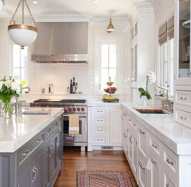28 Antique White Kitchen Cabinets Ideas In 2019: Narrow Windows Next To Range, Gray Island Base, White