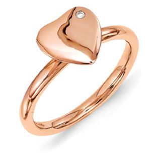Rose Gold over Sterling Silver Heart Diamond Stackable Ring Available Exclusively at Gemologica.com